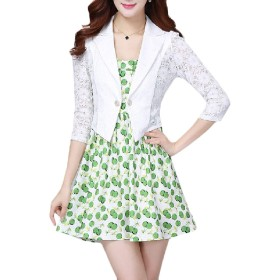 Kankanluck 女性の1ボタン3 / 4スリーブレースは、ブレザースーツジャケット White XL