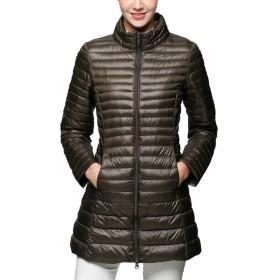 LKOMARKET-レディースジャケット ロング ダウンコート 大きいサイズ ダウンジャケット コート アウター かわいい 防風 冬 無地 長袖 暖かい ライトダウン 軽量 ソフト ウルトライト 痩せる 修身