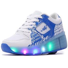 [BLLendina] メンズ レディース キッズ ローラーシューズ 光る 子供 誕生日プレゼント led 滑れるスニーカー 靴 マジックテープ 大人 (23.5cm ブルー)