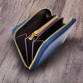 【BRUKN】 小銭入れ コインケース 財布 メンズ (ネイビー(ファスナー GOLD))