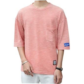 HAFOXW Tシャツ メンズ 丸首 半袖 5分袖 5分丈 7分袖 7分丈 吸汗速乾 かっこいい 胸ポケット付き 春夏季対応トップス T709 (XL, KAKI)