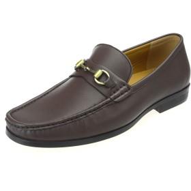 [アンバイルシウス] ローファー メンズ ビジネス 学生靴 ビット スリッポン ドライビングシューズ 茶 ブラウン 27.0cm