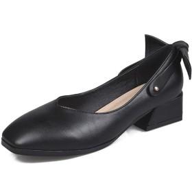[シュウアン] 2way 24.5cm パンプス リボン バック アンクルストラップ スクエアトゥ かわいい 痛くない プレゼント おしゃれ 太ヒール カジュアル コンフォート シンプル レディース デイリー 美脚 やわらかい 疲れない 歩きやすい ブラック
