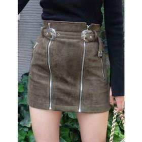 【エヴリス/EVRIS】 フェイクスウェードZIP スカート