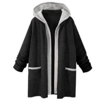おしゃれ ジャケット コート ロング パーカー トップス レディース ポケット付き ハーフ 長袖 軽量 暖かい 柔らかい 春秋冬 スウェット (ブラック, XL)