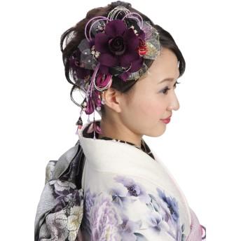 花髪飾り かんざし 紫ヴァイオレット[ 成人式 振袖 卒業式 袴 着物 和装 簪 髪型]