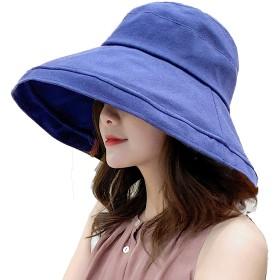 UVカット 帽子 レディース つば広 紫外線対策 熱中症予防 取り外すあご紐付き サイズ調節可 おしゃれ 小顔効果抜群 可愛い ハット 旅行用 (ネイビー)