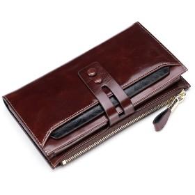 Deelfel 財布 レディース メンズ 本革 ラウンドファスナー 薄い ブラウン 大容量 カード入れ ロングウォレット ブランド