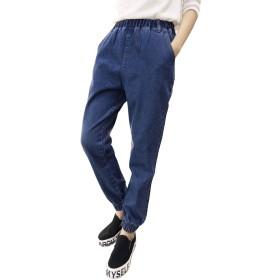 【Y's factory】 レディース デニム ジョガー パンツ 大人 カジュアル ボトムス 大きいサイズ (ダークブルー, S)