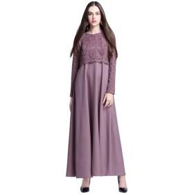 Hzjundasi イスラム教徒 カフタン 女性 アバヤ ドレス 中東 イスラム教の 長袖 レース Patchwork マキシ ドレス マレーシア アラブ ローブ