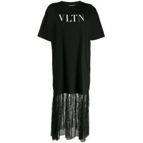 Valentino レースヘム Tシャツドレス - ブラック