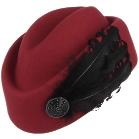 Y-BOAトーク帽 礼装帽子 カクテルハット ヘッドドレス ベレー帽 画家帽 ウール 帽子 羽根飾り レディース 欧風 パーティー ウェディング 結婚式 披露宴 レッド