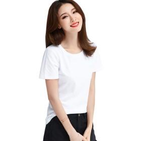 BOXUAN Tシャツ レディース 半袖 ゆったり カットソー トップス 無地 薄手 涼しい 丸首 カジュアル シャツ 綿100% パーカー 夏 おもしろ コットン tシャツ シンプル おしゃれ 黒白 大きいサイズ 6色