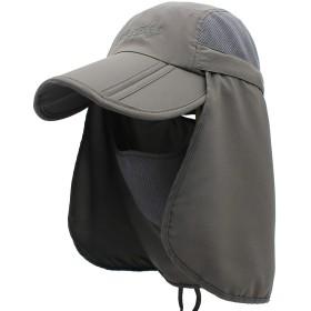 日焼け防止帽子 UVカット 紫外線対策用ハット 3way 漁師キャップ メンズ レディース 釣り ・ キャンプ ・農作業 メッシュ&首元まで完全防備