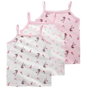 Aduni女の子 キャミソール 3枚組 キッズ インナー 肌着 袖なし 可愛い 子供服 綿 カジュアル 夏物 8-10歳