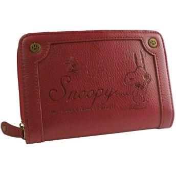 [スヌーピー] SNOOPY 財布 レディース 二つ折り財布 ファスナー ヴィンテージ 型押し 刻印 シック カード入れ 小銭入れあり ジャバラ 女性用 (レッド)