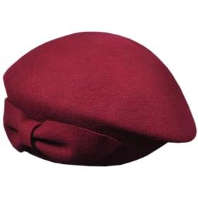 Yuelian(TM) ベレー帽 レディース リボンモチーフ 秋冬 ハット 婦人帽 (4 ボルドー)