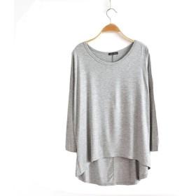 Veamor レディース ボートネック 長袖 トップス カットソー 無地 とろみ Tシャツ ヨガウェア ドルマン Tシャツ 大きめ 体型カバー