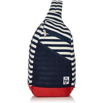[チャムス] ボディバッグ Body Bag Sweat Nylon Navy Border/Tomato