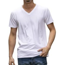 (エーエスエム) A.S.M Tシャツ メンズ コットン モダール ベア天竺 Vネック 半袖 Tシャツ 02-66-9779 50(L) ホワイト