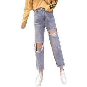 PASA レディース デニムパンツ ダメージ加工 ジーンズ クラッシュパンツ ゆったり ロング パンツ 九分丈 ファッション ブルーM