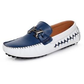 [幸福マーケット] ビットローファー モカシンシューズ スリッポン メンズ靴 靴 ローカット フラット 快適 軽量 幅広 デッキ カジュアル ブルー&ホワイト 25cm