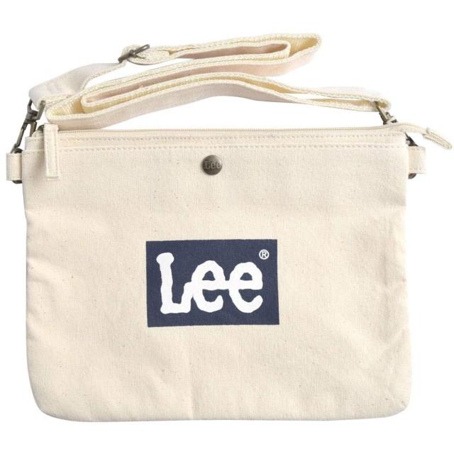 [リー] Lee サコッシュ レディース キャンバス メンズ 帆布 斜めがけ 生成り ショルダーバッグ ロゴ おしゃれ 紐太め 横型 コットン 0425439