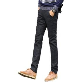 メンズ 綿パン スラックス パンツ ズボン 格子柄 チェック スタイリッシュ パンツ ストレート 裏地あったかパンツ ボトムス ビジカジ 紳士 ビジネス 伸縮 ストレッチ サイズ豊富 裏地付きK9982 (34, ブラック)