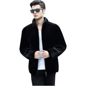 (グードコ) ファーコート メンズ 厚手 裏ボア 毛皮コート 裏起毛 ムートンコート 防寒ジャケット アウター パーカー フォーマル 通勤 ブラックB XL