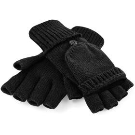 (ビーチフィールド) Beechfield ユニセックス Fliptop カバーつき 指なし ニット手袋 フィンガーレス グローブ 冬 防寒 (L/XL) (ブラック)