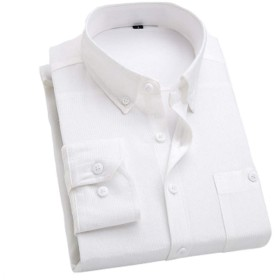 MANMASTER(マンマスター)メンズ コーデュロイ ボタンダウン ワイシャツ 長袖シャツ カラーシャツ 春秋 カジュアルシャツ 大きいサイズ CH163 (XXL, ホワイト)