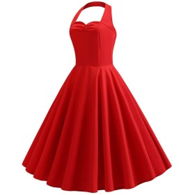 女性のヴィンテージ水玉ホルターネックドレス固体Spingレトロロカビリーカクテルドレス