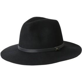 ハット レディース 大きいサイズ 帽子 つば広帽 ベルト付き お洒落 防寒帽子 フェルトハット 秋冬 小顔帽子56-58cm (ブラック)