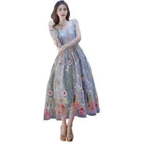 長袖 刺繍 ドレス レディース