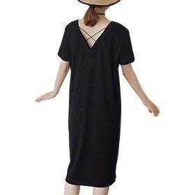 [ブルーディー] Tシャツ 無地 ミディアム丈 ワンピース Vネック 半袖 ロング ワンピ サマードレス レディース ブラック XL