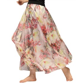 (Helostoma) ヘロストマ レディース マキシスカート 広幅 シフォンスカート 花柄 ロングスカート 64#