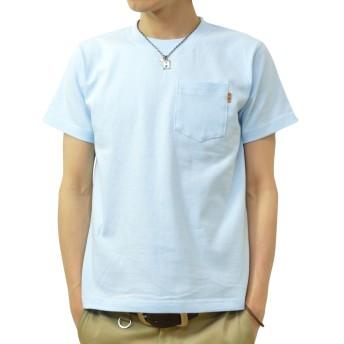 (ジーンズバグ)JEANSBUG 革タブ付 ポケT オリジナル 本革 タブ アクセント 半袖 無地 ポケット Tシャツ メンズ レディース 大きいサイズ PKST-L1 XS ライトブルー(488)