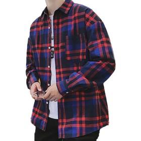 [CAIXINGYI] 秋 男性 ロングスリーブ メンズ シャツ 韓 版 メンズファッション メンズスタイル 格子 シャツ 学生 通勤 春 秋 トップ (M, ブルー)