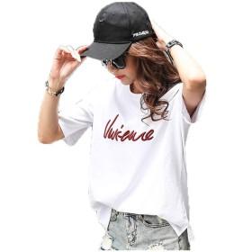 [Kayiyasu] Tシャツ レディース 半袖 トップス カジュアルシャツ ゆったり ロゴT クルーネック 無地 039-shlfs-171(S ホワイト)