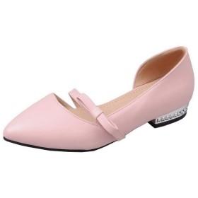 (ヴォーグゾーン009) VogueZone009 レディース 純色 PUの皮 ローヒール クローズドトゥ プルオン サンダル CCADP012107 23.0cm ピンク
