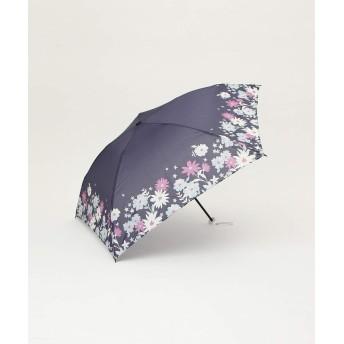 [ アフタヌーンティー リビング ] AfternoonTea LIVING ヘムフラワー折りたたみ傘 雨傘 ネイビー