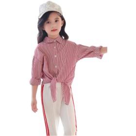 [セイーワイ] 長袖 キッズ 女の子 子供 トップス ロングシャツ ストライプ シャツ カジュアル ワイシャツ かわいい 入学式 発表会 お宮参り ピンク160CM