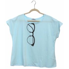 (ミズミス) Ms.Miss レディース 半袖 ポケット Tシャツ ロゴT トップス 大きいサイズ (デカメガネプリント,サックス)
