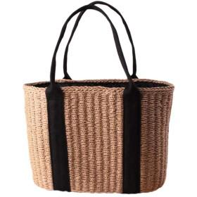 カゴバッグ 草編みバッグ パーチャスバッグ かごバッグ 編みかご 編みバック 手編みかご 巾着バック レディース ハンドルバック 大容量 肩掛け レディースハンドルバック ショルダーバッグ 2カラー選択可能 (ブラウン)