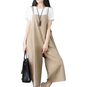 女性はスーツスーツスーツカミコットンゆったりノースリーブ夏固体 Khaki 3XL