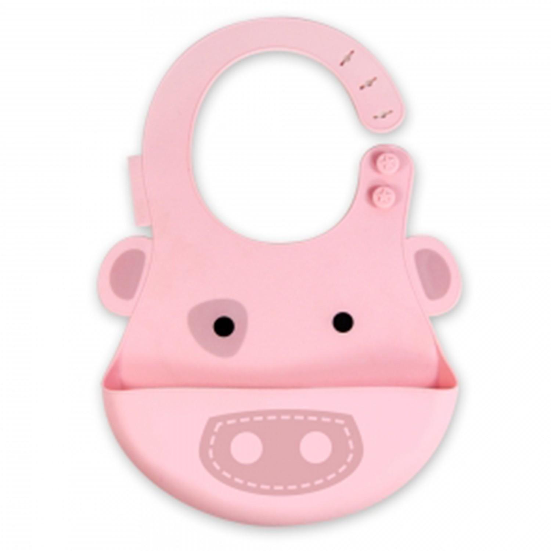 MARCUS&MARCUS - 動物樂園矽膠立體圍兜-粉紅豬