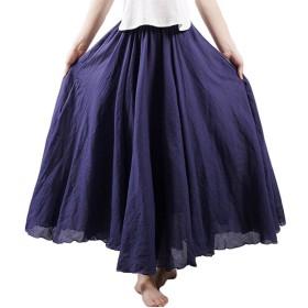 Haolong レディース マキシスカート 綿麻 Aライン ロングスカート 透けない フレア ウエストゴム 体型カバー 19色展開 大きいサイズ