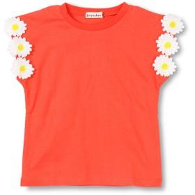 (ブランシェス) branshes 袖フラワーモチーフTシャツ 150cm オレンジ