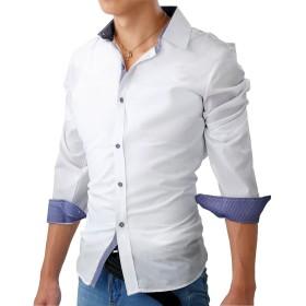フェアリーストーン ドレスシャツ 長袖 チェック 柄 ボタン スリム フィット カジュアル S-06 メンズ ホワイト XL