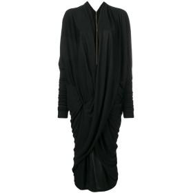 Poiret ドレープ Vネック ドレス - ブラック